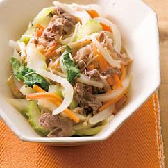 せん切り野菜と牛肉の煮物