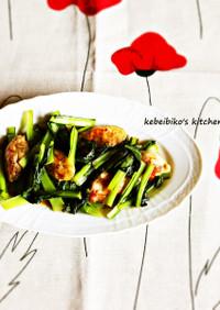 牡蠣と小松菜の醤油バターソテー