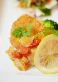 カジキのカツレツ~塩レモンの彩りソース