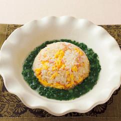 卵炒飯の青菜あんかけ