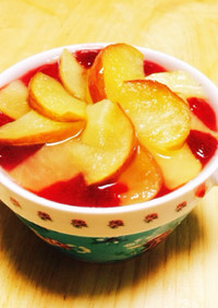 華やかりんごといちごのレアチーズケーキ♡