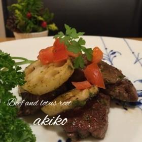 ステーキ肉とれんこんのパセリソース炒め