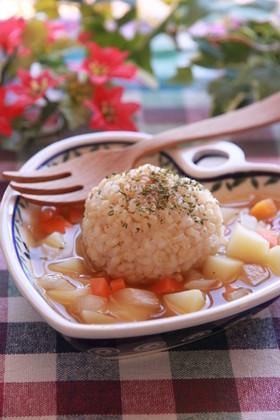 カフェ風☆余りごはんで食べるスープ