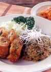 薄切り肉と長芋のフライ&野沢菜と生姜炒飯