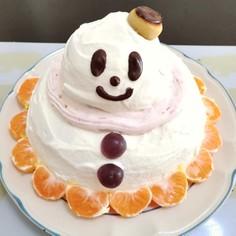 クリスマスケーキ♪簡単!立体雪だるま^^