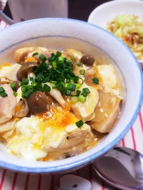 崩し豆腐の卵とじ親子丼