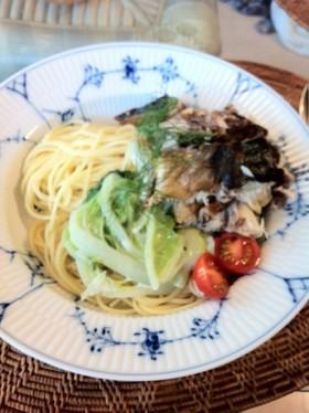 鯖と白菜のクリームパスタ ディル風味