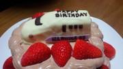 お誕生日やクリスマスケーキに☆新幹線デコの写真