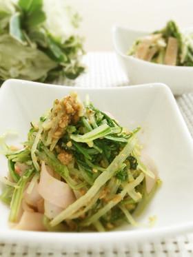 お弁当にも♪簡単♪水菜とハムの胡麻和え⭐