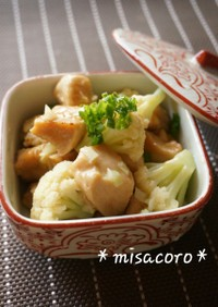 m甘辛鶏とカリフラワーのサラダ