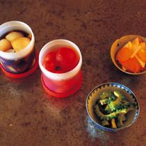 タマネギの酢じょうゆ(写真左端)