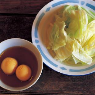 ゆでキャベツゆで卵入りヌクマムダレ