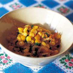 トウモロコシと桜エビのさっと炒め