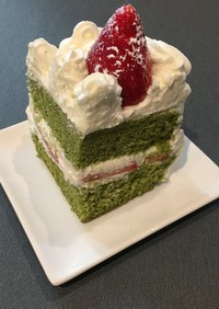 角型でつくるクリスマス抹茶ショートケーキ