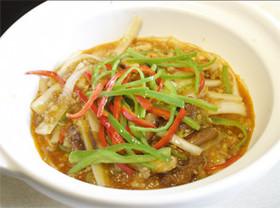 娃々菜と挽肉のピリ辛炒め