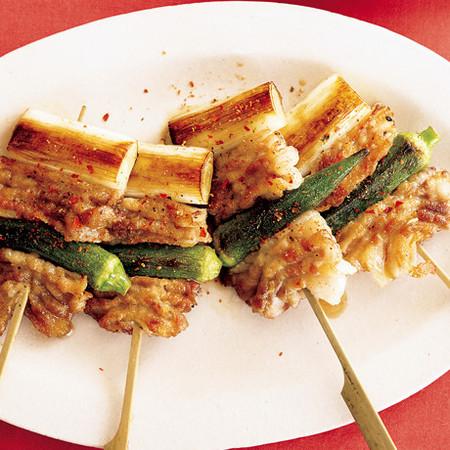 豚バラと長ねぎの串焼き