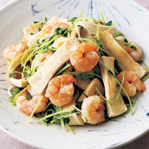 高野豆腐とえびの塩炒め