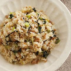 豚ひき肉と小松菜のチャーハン