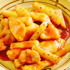 長芋と鶏肉の甘酢炒め
