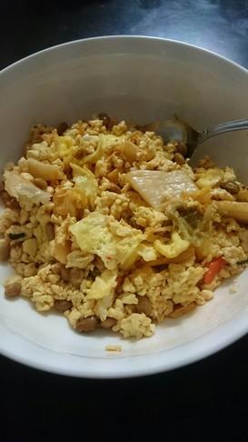 炒り豆腐でキムチチャーハン♪