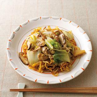 白菜と豚肉の中華あんかけ麺