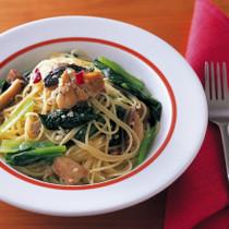 さんまと小松菜のペペロンチーノ