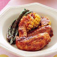 手羽先と夏野菜の蒸し煮