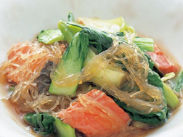 青梗菜と鮭のスープ煮