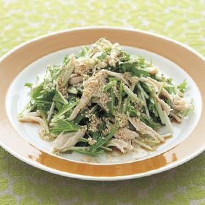 水菜とささ身のごまドレッシングサラダ
