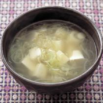 ねぎと豆腐のしょうがスープ