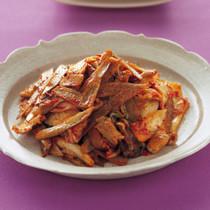 ごぼうと豚肉のピリ辛炒め