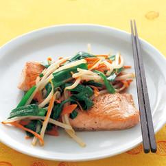 鮭の中華風野菜のせ