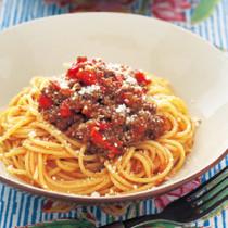 ひき肉のサルサスパゲティ