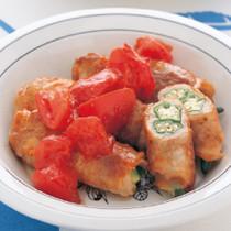 肉巻きオクラのフレッシュトマトソース