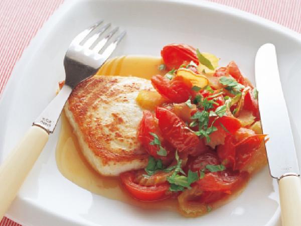 めかじきのガーリックソテー トマトソース
