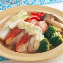 きんめ鯛と野菜のカラフル蒸し