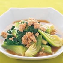 青梗菜と鶏ひき肉のうま煮