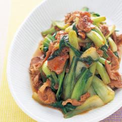 青梗菜と豚肉のラー油炒め