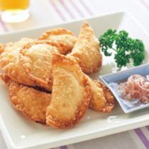 豆腐と帆立ての揚げ餃子みょうがだれ