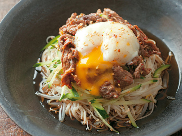 レンジ焼き肉の韓国風そうめん