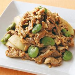 豚肉とそら豆のカレー炒め