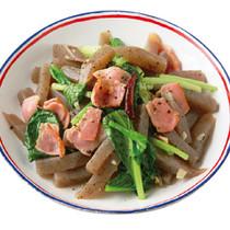 こんにゃくと小松菜のペペロンチーノ