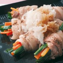 野菜の豚バラ巻き蒸し