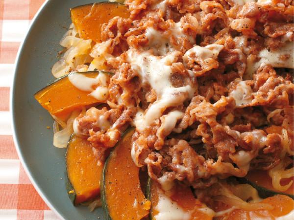 牛肉とかぼちゃのケチャップ蒸し