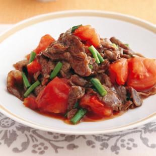 牛肉とトマトの黒酢炒め
