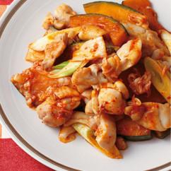 鶏肉とかぼちゃのキムチ炒め