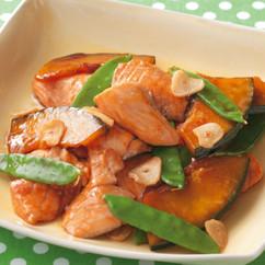 鮭とかぼちゃのオイスターソース炒め