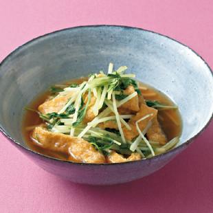 油揚げと水菜の和風カレー煮