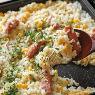 白菜とソーセージのチーズリゾット