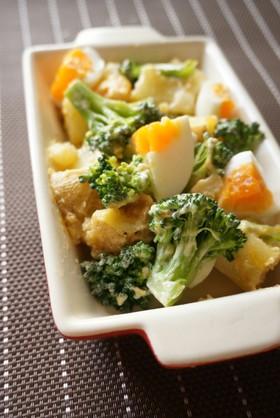 m半熟卵とブロッコリーの味噌マヨサラダ